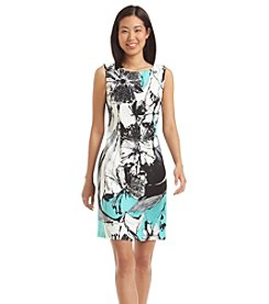 Connected® Floral Print Seamed Dress