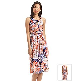 Sangria™ Empire Floral Palm Print Dress