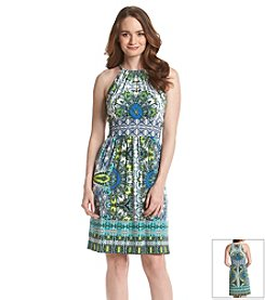London Times® Paisley Print Babydoll Dress