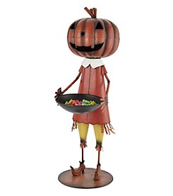 LivingQuarters Metal Pumpkin Girl Candy Bowl