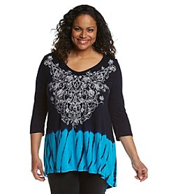 Laura Ashley® Plus Size Tie Dye Border Tunic