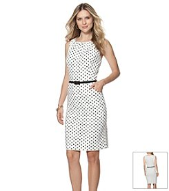 Chaps® Belted Polka Dot Dress