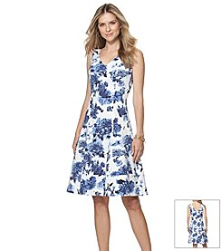 Chaps® Peony Print Fit And Flare Dress
