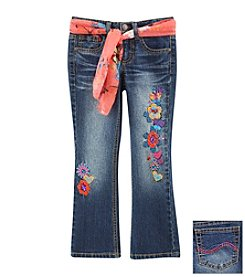 Squeeze® Girls' 2-6 Floral Embroidered Jeans With Sash