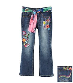 Squeeze® Girls' 2T-6X Icon Patchwork Jean With Sash