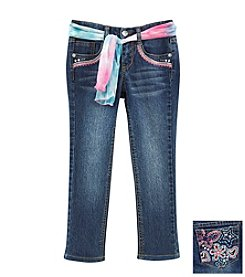 Squeeze® Girls' 2T-6X Flower Pocket Jeans With Sash