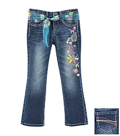 Squeeze® Girls' 2T-6X Floral Jeans With Rainbow Sash