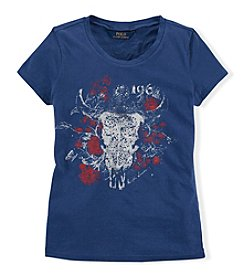 Ralph Lauren Childrenswear Girls' 7-16 Longhorn Rose Graphic Tee