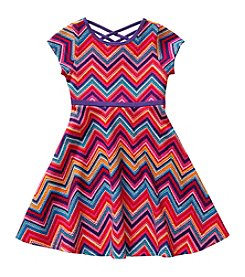 Sweet Heart Rose® Girls' 4-6x Chevron Knit Dress