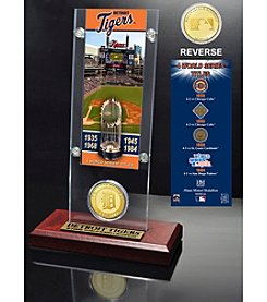 Detroit Tigers World Series Ticket & Bronze Coin Acrylic Desk Top by Highland Mint