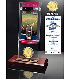 Los Angeles Angels World Series Ticket & Bronze Coin Acrylic Desktop by Highland Mint