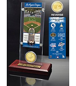 Los Angeles Dodgers World Series Ticket & Bronze Coin Acrylic Desk Top by Highland Mint