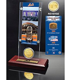 New York Mets World Series Ticket & Bronze Coin Acrylic Desk Top by Highland Mint