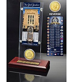 New York Yankees World Series Ticket & Bronze Coin Acrylic Desk Top by Highland Mint