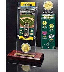 Oakland Athletics World Series Ticket & Bronze Coin Acrylic Desk Top by Highland Mint