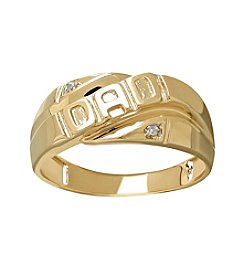 Diagonal Dad Ring In 10k Yellow Gold