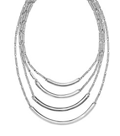 Vince Camuto® Silvertone Four Row Bar Link Necklace