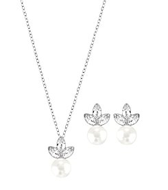 Swarovski® Silvertone Classy Necklace And Earrings Set
