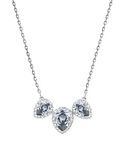 Swarovski® Silvertone Christie Frontal Pear Pendant Necklace