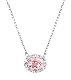 Swarovski® Silvertone Christie Oval Pendant Necklace