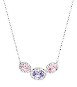 Swarovski® Silvertone Christie Frontal Oval Pendant Necklace