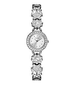GUESS Women's Silvertone Delicate Floral Watch