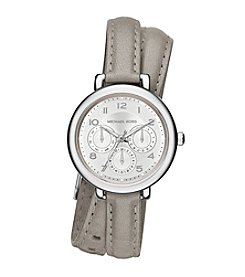 Michael Kors® Women's Silvertone Double Wrap Gray Leather Kohen Watch