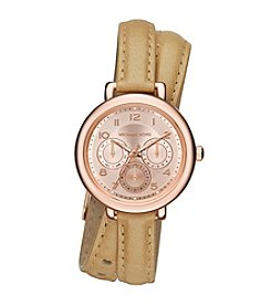 Michael Kors® Women's Rose Goldtone Double Wrap Brown Leather Kohen Watch
