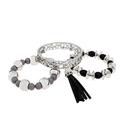 Erica Lyons® Silvertone Crack Me Up  Three Piece Beaded Stretch Bracelet