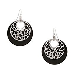 Erica Lyons® Silvertone Crack Me Up Layered Donut Pierced Earrings