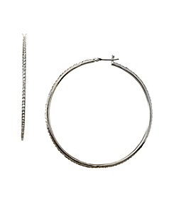 Lauren Ralph Lauren Silvertone Large Pave Hoop Earrings