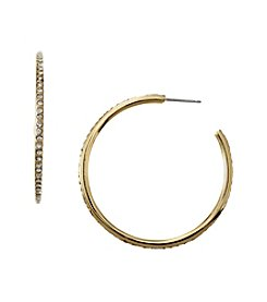 Lauren Ralph Lauren Goldtone Medium Pave Hoop Earrings