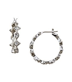 Lauren Ralph Lauren Silvertone Small Crystal Hoop Earrings