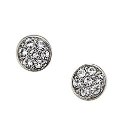 Lauren Ralph Lauren Silvertone Small Crystal Stud Earrings