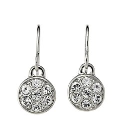 Lauren Ralph Lauren Silvertone Small Round Crystal Drop Earrings