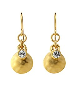 Lauren Ralph Lauren Goldtone Hammered Disk Drop Earrings