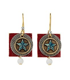 Silver Forest® Two Tone  Americana Star And Square Earrings