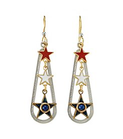 Silver Forest® Two Tone Americana Three Star Earrings