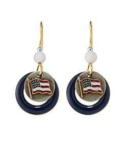 Silver Forest® Two Tone Americana Flag Earrings