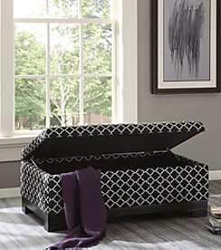 Madison Park™ Abram Ottoman in Fretwork Black
