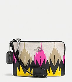 COACH CORNER ZIP WRISTLET IN PRINTED CROSSGRAIN LEATHER