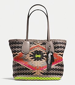 COACH TAXI TOTE IN WOVEN LEATHER