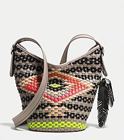 COACH MINI DUFFLE IN WOVEN LEATHER