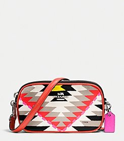 COACH CROSSBODY POUCH IN PRINTED CROSSGRAIN LEATHER