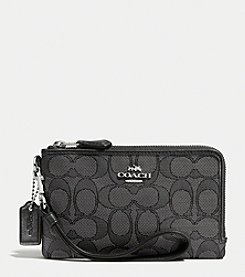 COACH DOUBLE CORNER ZIP WRISTLET IN SIGNATURE FABRIC