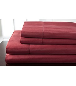 Elite Home Products 400-Thread Count Hemstitch Woven Stripe Sheet Set