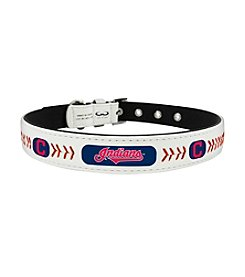MLB® Cleveland Indians Classic Leather Baseball Pet Collar