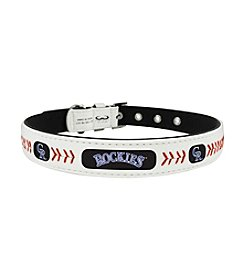 MLB® Colorado Rockies Classic Leather Baseball Pet Collar