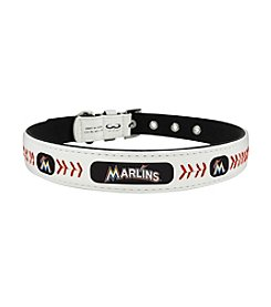 MLB® Miami Marlins Classic Leather Baseball Pet Collar