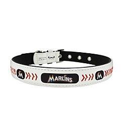 MLB® Miami Marlins Classic Leather Baseball Pet Collar